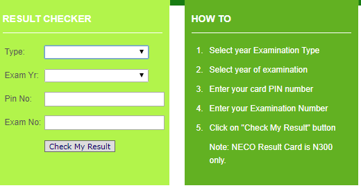 NCEE 2021 Result Checking Portal""